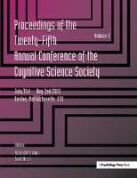 Proceedings of the 25th Annual Cognitive Science Society Part 1 and 2 by Richard Alterman