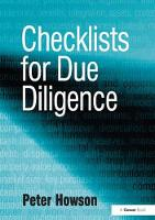 Checklists for Due Diligence by Peter Howson