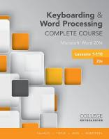 Keyboarding and Word Processing Complete Course Lessons 1-110 Microsoft (R) Word 2016, Spiral bound Version by Donna Woo, Connie Forde, Susie H. VanHuss, Vicki Robertson