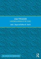 Legal Persuasion A Rhetorical Approach to the Science by Linda L. Berger, Kathryn M. Stanchi