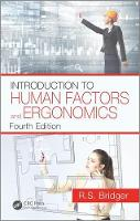 Introduction to Human Factors and Ergonomics, Fourth Edition by Robert Bridger