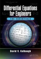 Differential Equations for Engineers The Essentials by David V. Kalbaugh