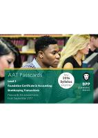 AAT Bookkeeping Transactions Passcards by BPP Learning Media