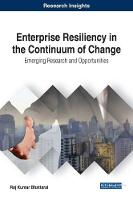 Enterprise Resiliency in the Continuum of Change Emerging Research and Opportunities by Raj Kumar Bhattarai