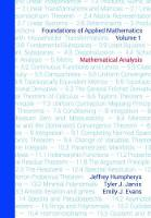 Foundations of Applied Mathematics, Volume 1 Mathematical Analysis by Jeffrey Humpherys, Tyler Jarvis, Emily Evans