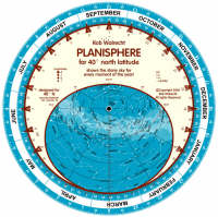 Planisphere for 40 Degrees North Latitude Shows the Starry Sky for Every Moment of the Year by Rob Walrecht