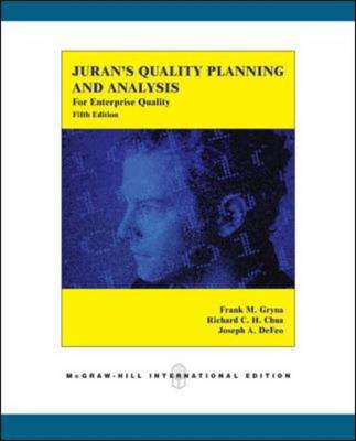 Juran's Quality Planning and Analysis for Enterprise Quality by Joseph A. DeFeo, Frank M. Gryna, Richard C. H. Chua