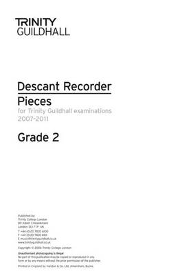 Descant Recorder Exam Pieces Grade 2 2007-2011 (part Only) by Trinity Guildhall